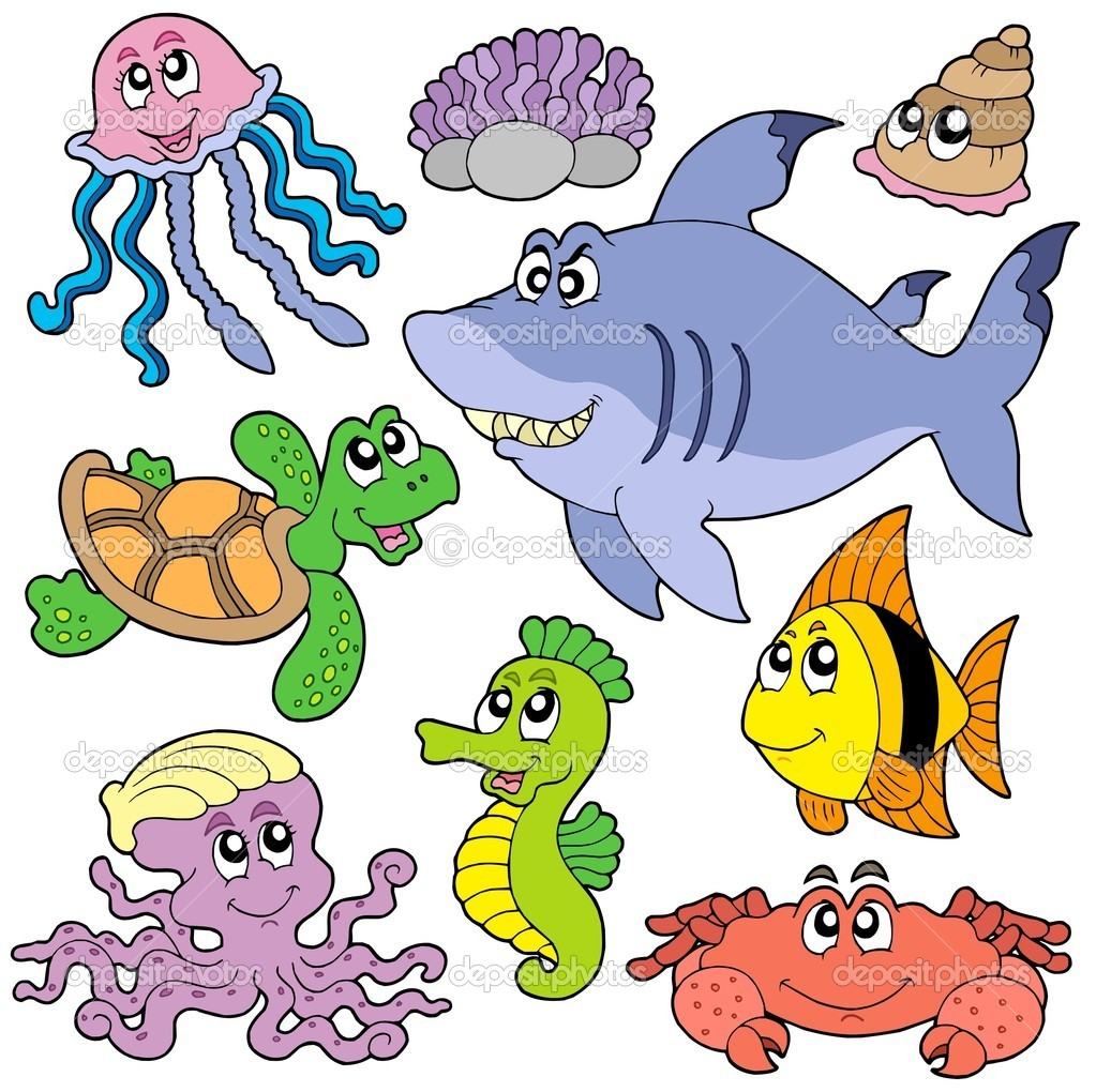 Sea fishes and animals collection 2 - vector illustration. — Stock Vector #1908342