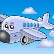 Cute flying airplane — Stock Photo