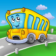 Yellow school bus on road — Stock Photo