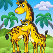 African landscape with giraffes — Stock Photo
