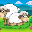 Stock Photo: Pair of cute sheep on meadow