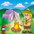 Stock Photo: Small scout with fire and tent