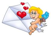 Cupid holding envelope 1 — Stock Photo