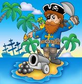 Pirate shooting from cannon — Stock Photo