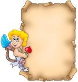 Valentine parchment with Cupid — Stock Photo
