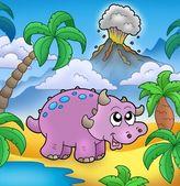 Cartoon dinosaur with volcano — Stock Photo