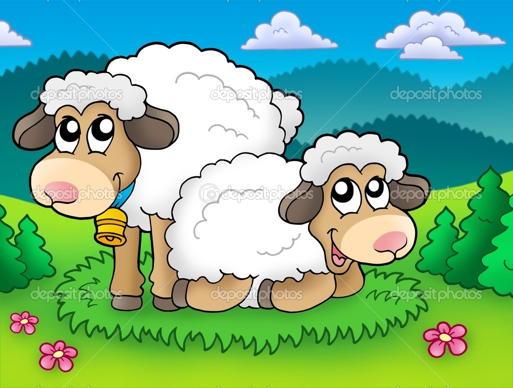 Pair of cute sheep on meadow - color illustration. — Stock Photo #2009307