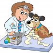Dog with sick paw at veterinarian — Stock Vector