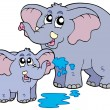 Stock Vector: Female and baby elephants
