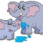 Female and baby elephants — Stock Vector