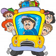 Stock Vector: School bus with children