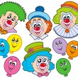 Stock Vector: Funny clowns collection