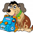 Sitting dog with school bag - Stock Vector