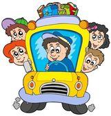 School bus with children — Stock Vector
