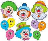 Funny clowns collection — Stock Vector