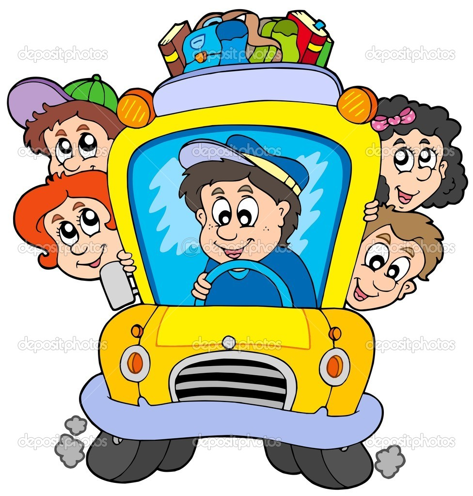 School bus with children - vector illustration. — Stock Vector #2009080