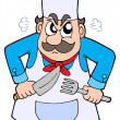 Angry chef with knife and fork - Stok Vektör