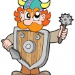 Stock Vector: Angry viking warrior