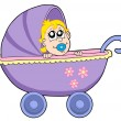 Baby in buggy vector illustration — Stock Vector #2147445