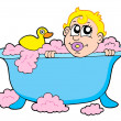 Baby in bath - Stock Vector