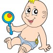 Baby with rattle vector illustration — Stock Vector