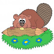 Beaver with log vector illustration — Vettoriali Stock