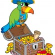 Stock Vector: Big treasure chest with pirate parrot