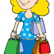 Blond shopping girl vector illustration - Stock Vector