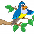 Stock Vector: Blue bird sitting on branch