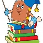Book teacher on pile of books — Stock Vector #2147588
