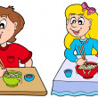 Boy and girl eating Chinese food — Vector de stock