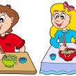 Vettoriale Stock : Boy and girl eating Chinese food