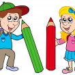 Vector de stock : Boy and girl with giant crayons