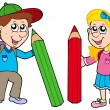 Boy and girl with giant crayons — 图库矢量图片