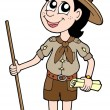 Stock Vector: Boy scout with walking stick