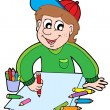 Boy with crayons — Stock Vector
