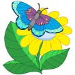Butterfly on yellow flower - Stock Vector
