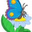 Butterfly with flower - Stock Vector