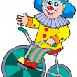 Stock Vector: Cartoon clown riding bicycle