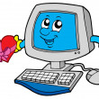 Royalty-Free Stock Imagen vectorial: Cartoon computer with heart