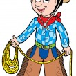 Cartoon cowboy with lasso - Stock Vector