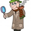 Stock Vector: Cartoon detective