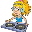 Stock Vector: Cartoon DJ girl