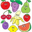 Stock Vector: Cartoon fruits collection 1