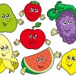 Royalty-Free Stock Imagen vectorial: Cartoon fruits collection 2