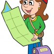 Cartoon girl traveller — Imagen vectorial