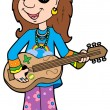 Cartoon hippie musician — Stock Vector