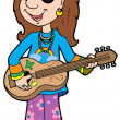 Stock Vector: Cartoon hippie musician