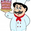 Royalty-Free Stock Imagem Vetorial: Cartoon chef with cake