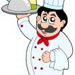 Cartoon chef holding meal and wine — Stock Vector